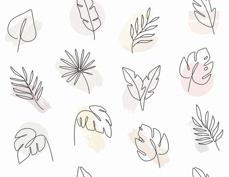 seamless pattern with leaves Line drawing of tropical palm leaves.