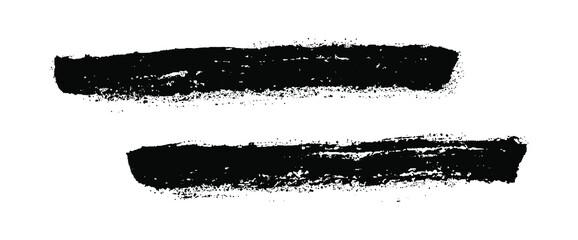 Obraz Grunge paint roller. Vector brush stroke.  Distressed banner. Black stripes isolated on white background. Paintbrush collection. Modern textured shape. Dry border in black. Bulge lines.  - fototapety do salonu