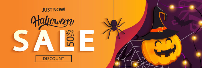 Fototapeta Halloween Sale horizontal banner with with witch-pumpkin inviting to shopping with big discounts. Template for web,poster,flyers, ad,promotions,blogs,social media,marketing.Vector illustration. obraz