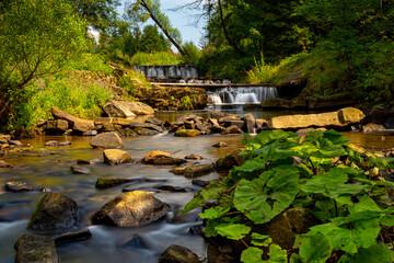 Kaskady na rzece Kocierzanka w miejscowości Kocierz Rychwałdzki