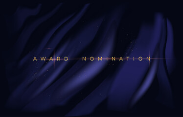 Elegant poster for awarding nominees. Dark canvas with blue strokes and shiny inscription. Template for social networks and printing. Cartoon flat vector illustration isolated on black background