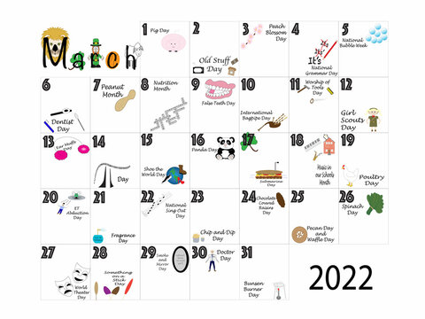 March 2022 Quirky Holidays and Unusual Celebrations