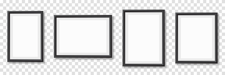 Fototapeta Photo frame. Picture frames set with shadow. Vector illustration obraz