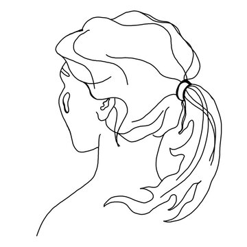 Sketch of a girl's head. Isolated on a white background.