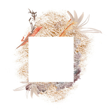 Frame with watercolor stains. Isolated on a white background.