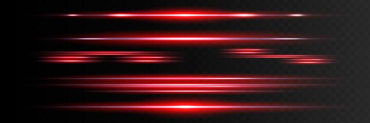Fototapeta Red horizontal lens flares pack. Laser beams, horizontal light rays.Beautiful light flares. Glowing streaks on dark background. Luminous abstract sparkling lined background. obraz