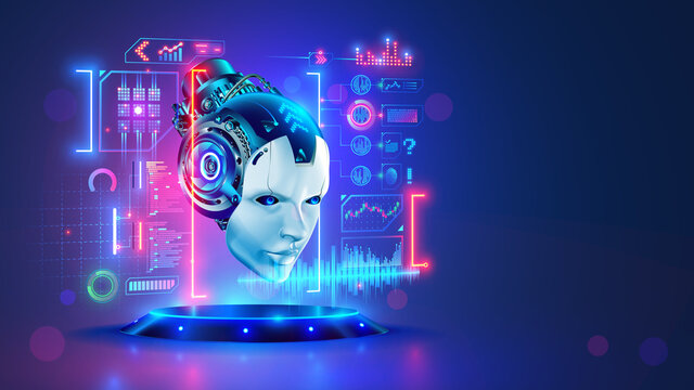 AI. Artificial intelligence. Head robot hanging over podium and look at virtual dashboard. Supercomputer in image futuristic cyborg head. Machine learning technology, neural networks.