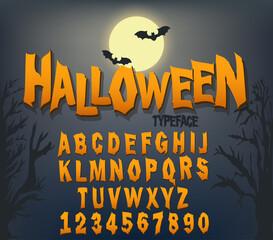 Fototapeta Halloween font, Original Typeface, Scary creepy alphabet, Dirty Letters, for holiday party. Vector obraz
