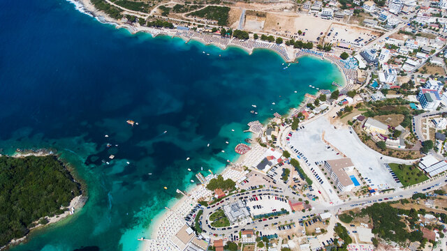 Beautiful aerial view of Ksamil from above islands and sea, Albanian Riviera