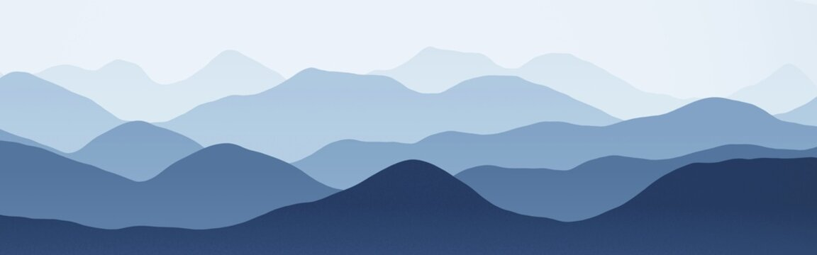 beautiful flat of hills slopes in haze digitally drawn background texture illustration