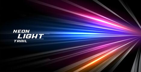 Fototapeta speed trail neon light lines motion background obraz
