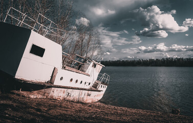 ship wreck in the sea