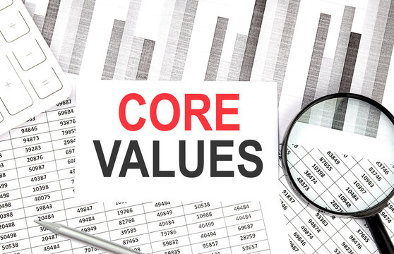 CORE VALUES text on the paper with calculator,magnifier ,pen on the graph background
