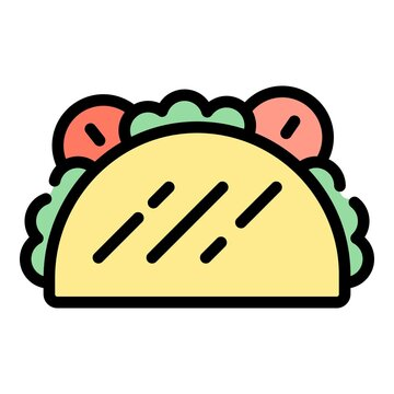 Taco cuisine icon. Outline taco cuisine vector icon color flat isolated