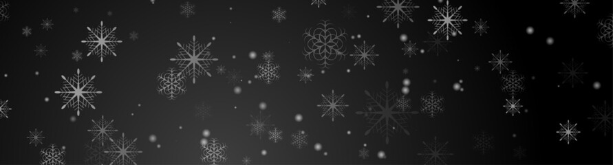 Fototapeta Black abstract snowflakes Christmas banner design. Vector greeting card New Year winter background obraz