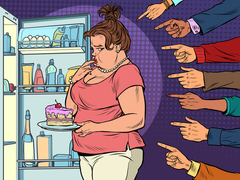 Condemnation and shame. Fat woman at the open refrigerator with food, obesity and excess weight