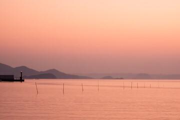 Fototapeta 糸島市オレンジ色の夕景 obraz