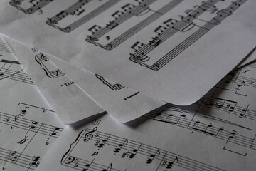 Sheet music, musical notation. A lot of new music, without sound.