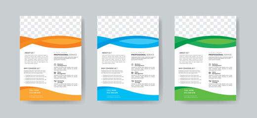 Fototapeta Corporate Business Flyer Template Layout with 3 Colorful Accents and Grayscale Image Masks obraz