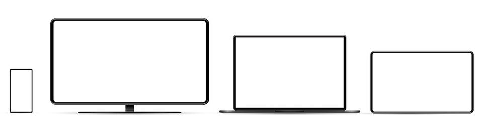 Fototapeta Device screen mockup. Smartphone, tablet, laptop and monoblock monitor, with blank screen for you design. PNG.  obraz