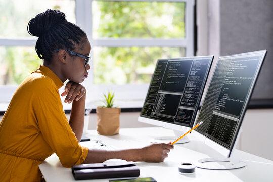 African American Woman Programmer. Girl Coding