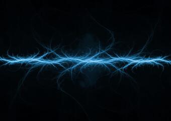 Fototapeta Blue lightning background, plasma and energy abstract obraz