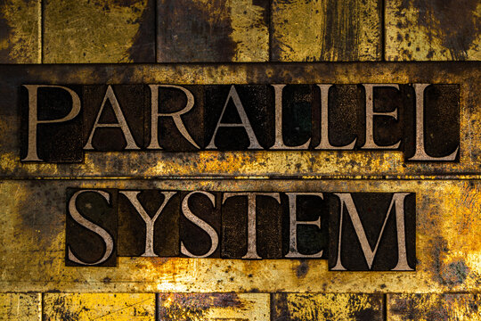 Parallel System text on textured grunge copper and vintage gold background