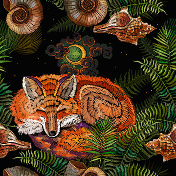 Embroidery sleeping fox and fern, seamless pattern. Magic night forest. Fashionable template for design of clothes. Fairy tale art