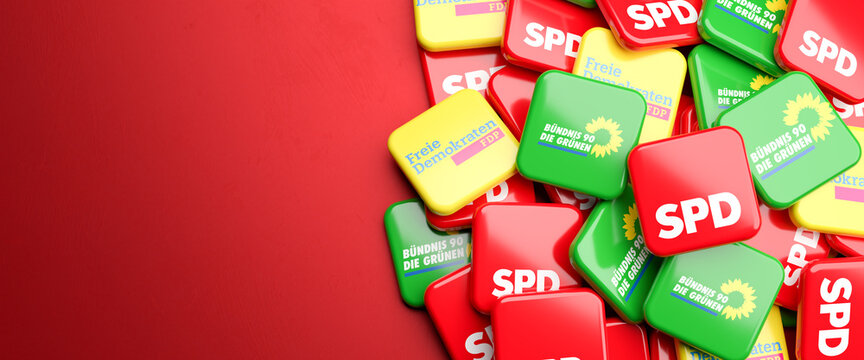 Logos of the German political parties SPD, Die Grünen, FDP who could be forming the so called traffic light coalition (Ampelkoalition) in the Bundestag election. Copy space.