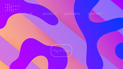 Fototapeta Modern Poster. Minimal Journal. Wavy Liquid Background. Blue Gra obraz