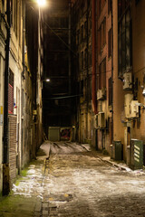 narrow street on an icy night