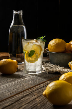lemon ice cocktail on wooden background
