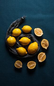 lemons close up on blue background
