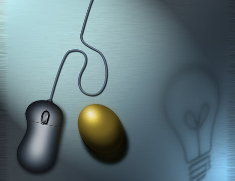 PC mouse and golden egg
