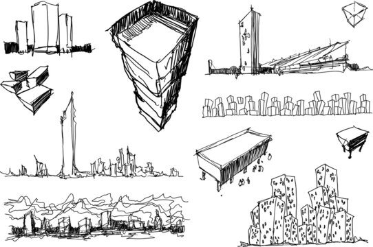 many hand drawn architectectural sketches of a modern abstract architecture and urban ideas