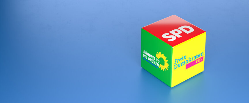 Logos of the German political parties SPD, Die Grünen, FDP who could be forming the so called traffic light coalition in the Bundestag election. Copy space.