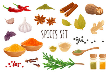 Fototapeta Spices icon set in realistic 3d design. Bundle of chilli, cinnamon, garlic, ginger, rosemary, nutmeg, cloves, star anise and other. Cooking collection. Vector illustration isolated on white background obraz