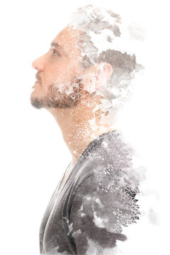 Paintography. Creative portrait of a man on a white background