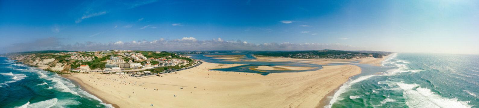 Aerial view of Foz do Arelho beach during summer, Portugal
