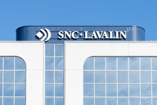 Etobicoke, Toronto, Canada - September 26, 2021: SNC-Lavalin sign on the building in Etobicoke, Toronto, a Canadian company provides engineering, procurement, and construction services.