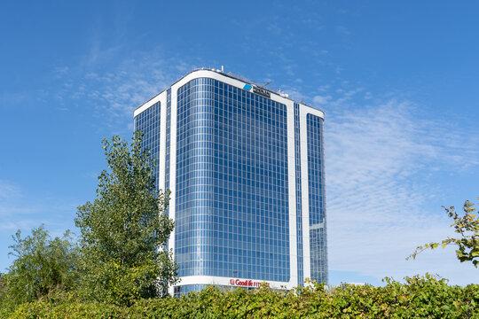 Etobicoke, Toronto, Canada - September 26, 2021: Pomerleau office building in Etobicoke, Toronto, Canada. Pomerleau is one of Canada's leading construction companies.