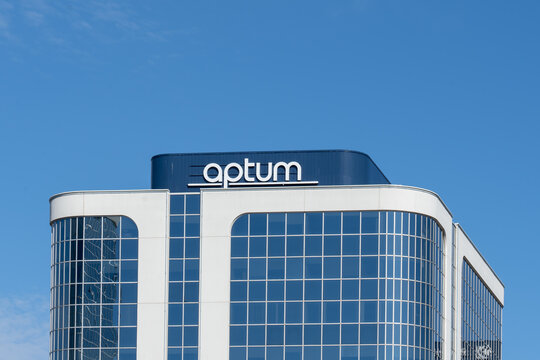 Etobicoke, Toronto, Canada - September 26, 2021: Optum sign on the office building in Etobicoke, Toronto, Canada. Optum, Inc. is an American pharmacy benefit manager and health care provider.