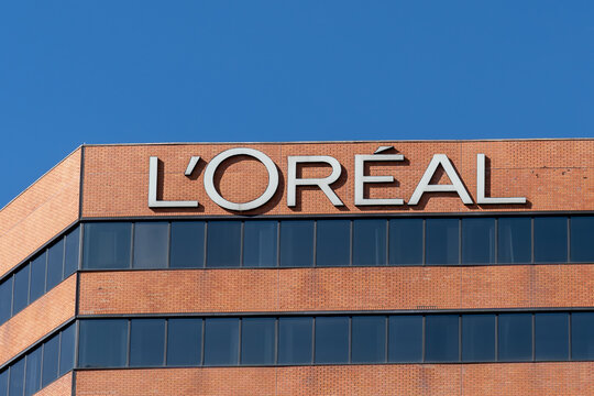 Etobicoke, ON, Canada - September 26, 2021: Close up of L'Oréal sign at their Corporate office in Etobicoke, ON, Canada. L'Oréal S.A. is a French personal care company.