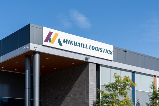 Oakville, On, Canada - September 21, 2021: Mikhaiel Logistics office building in Oakville, On, Canada. Mikhaiel Logistics is a Canadian Logistics company.