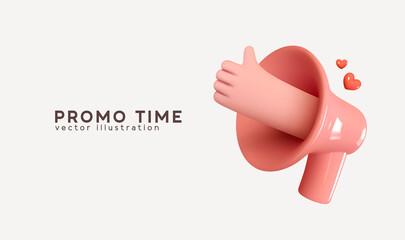 Fototapeta Social media. Hand Symbol like and red heart love. Marketing time concept, realistic 3d megaphone, loudspeaker by hand. Vector illustration. obraz