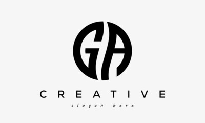 Fototapeta GA creative circle letter logo design obraz