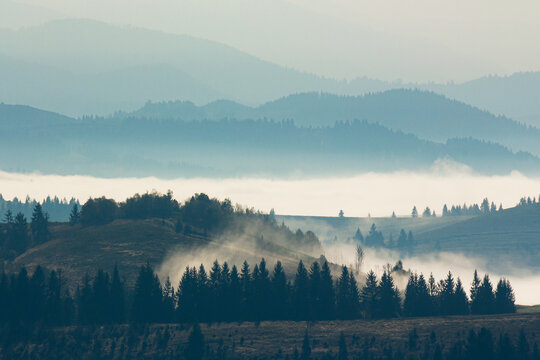 mountain landscape on a foggy morning. beautiful autumnal nature scenery