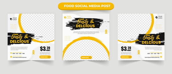 Obraz Cullinary tasty delicious food menu restaurant promotion for set of editable social media post banner flyer square vector template - fototapety do salonu