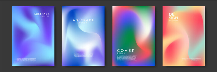 Fototapeta Blurred backgrounds set with modern abstract blurred color gradient patterns. Templates collection for brochures, posters, banners, flyers and cards. Vector illustration. obraz