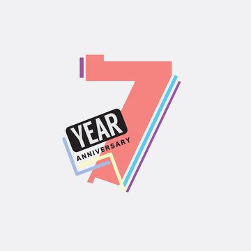 7th Years Anniversary Logo Birthday Celebration Abstract Design Vector Illustration.